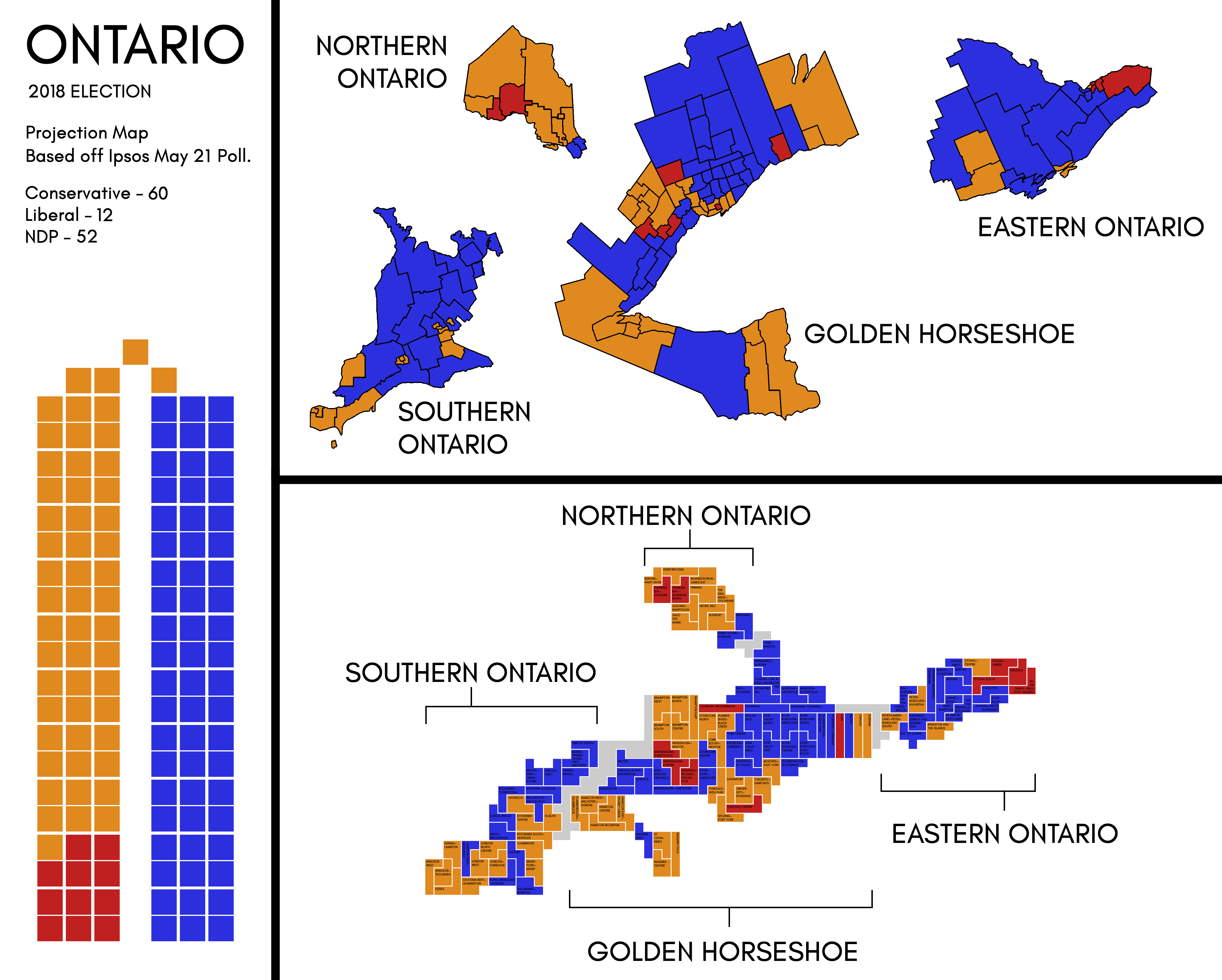 Election Poll Ontario Map Based Off Of Ipsos May 21 Poll Canadapolitics