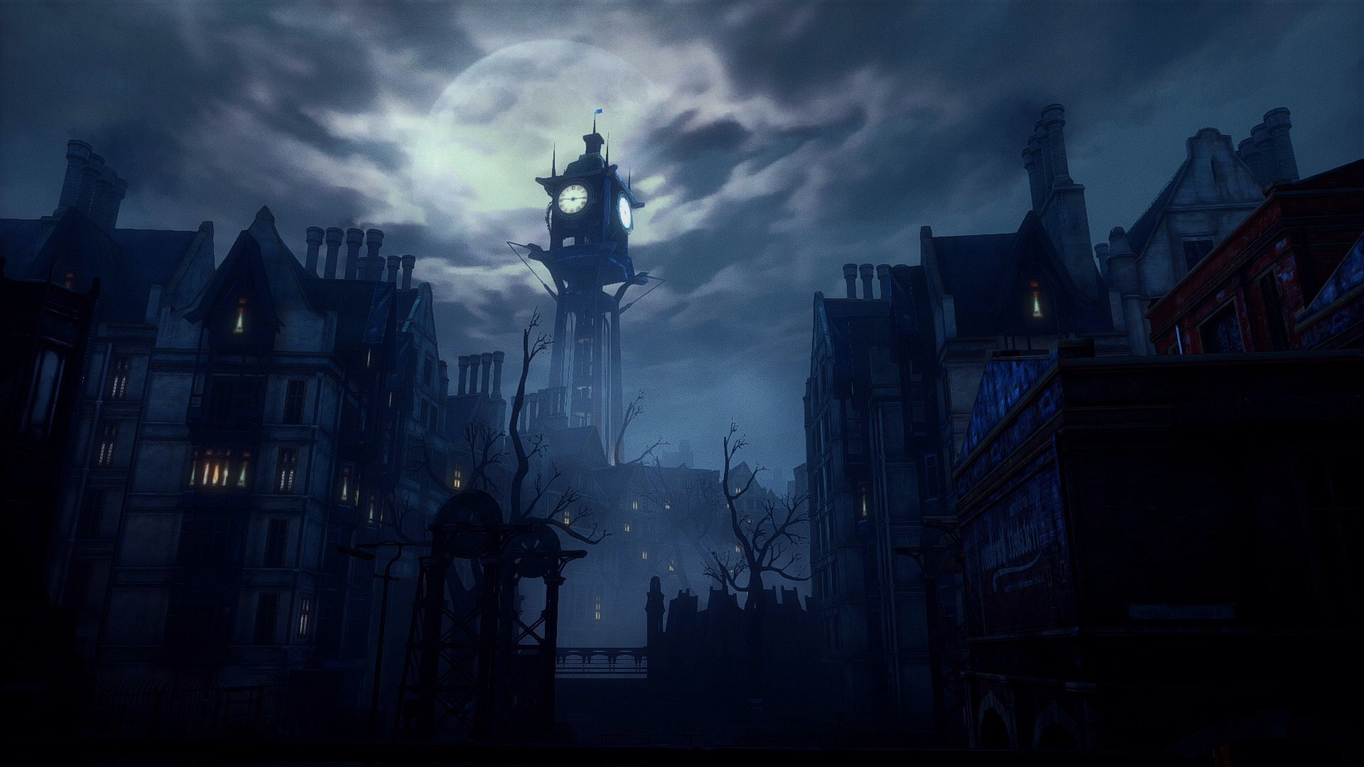 Gothic Girl Live Wallpaper Late Night At The Clock Tower 1920 215 1080 Wallpapers