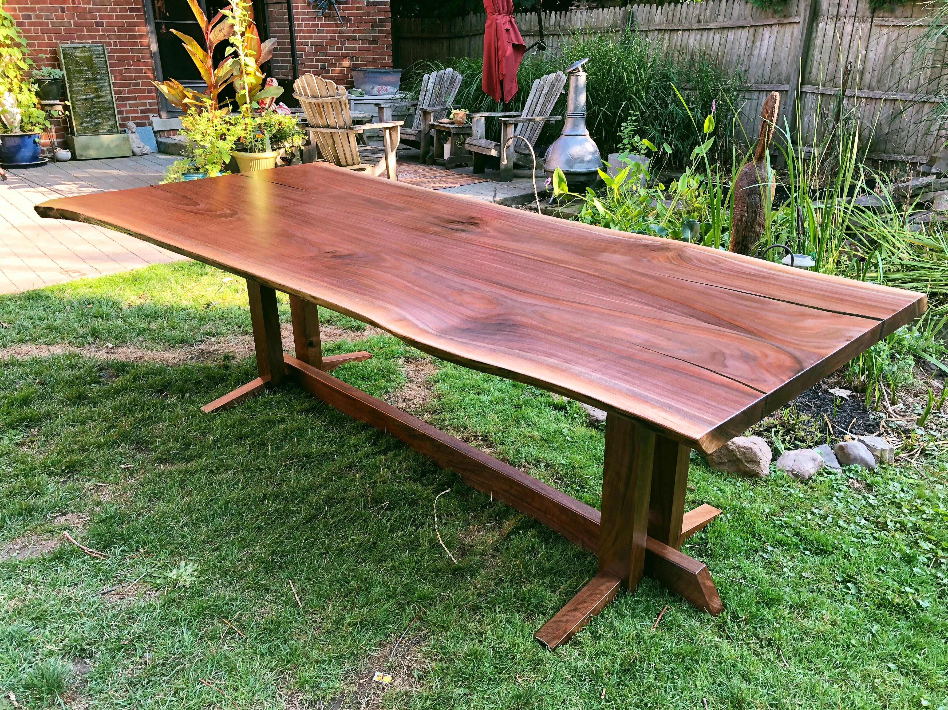 Onland Outdoor Furniture Finally Finished Making This Nakashima Style Walnut Dining Table