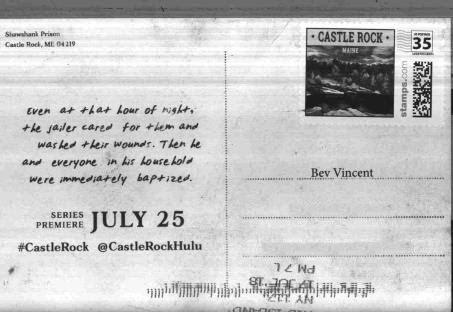 Postcard from Castle Rock / return address Shawshank Prison