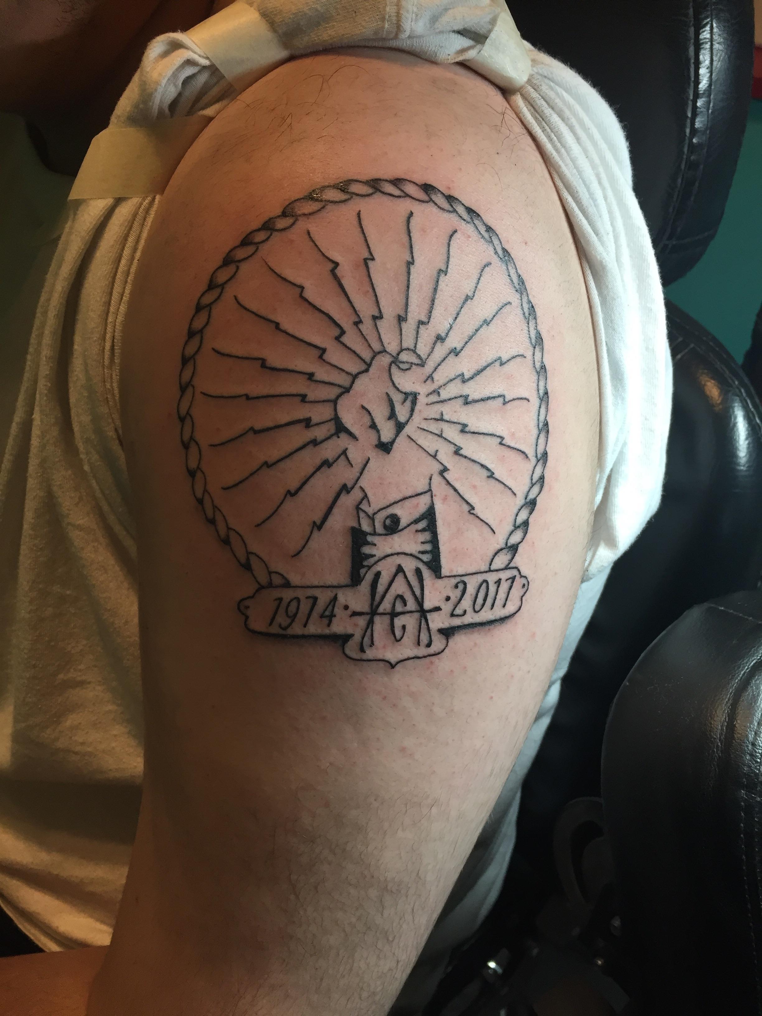 Splendid Ibew Memorial Tattoo Done By Ed At Electric New Ibew Memorial Tattoo Done By Ed At Electric New Orleans Dog Memorial Tattoos Paw Print Dog Memorial Tattoos Small bark post Dog Memorial Tattoos
