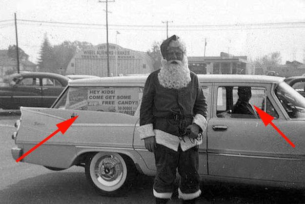 Santa giving away free candy  creepy