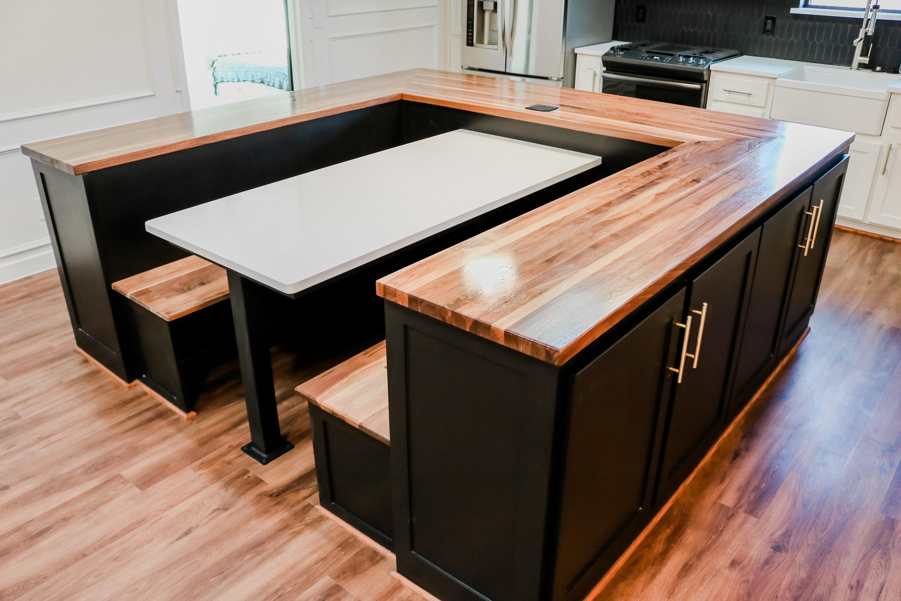 Here Are Some Butcher Block Countertops And Benches Not Pictured Are Floating Shelves I Just Did For A Full Home Remodel All Black Walnut Woodworking
