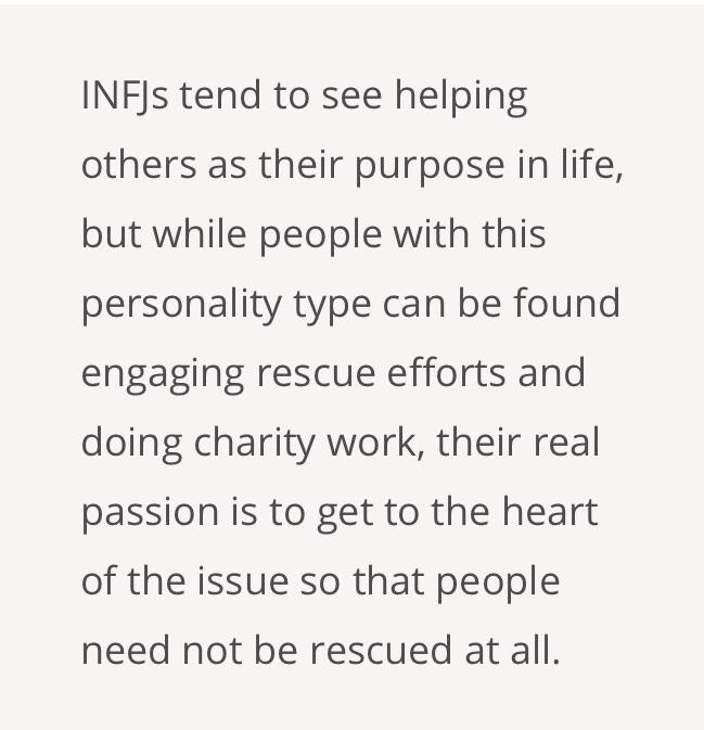 Getting to the heart of the issue - my favorite description of INFJ