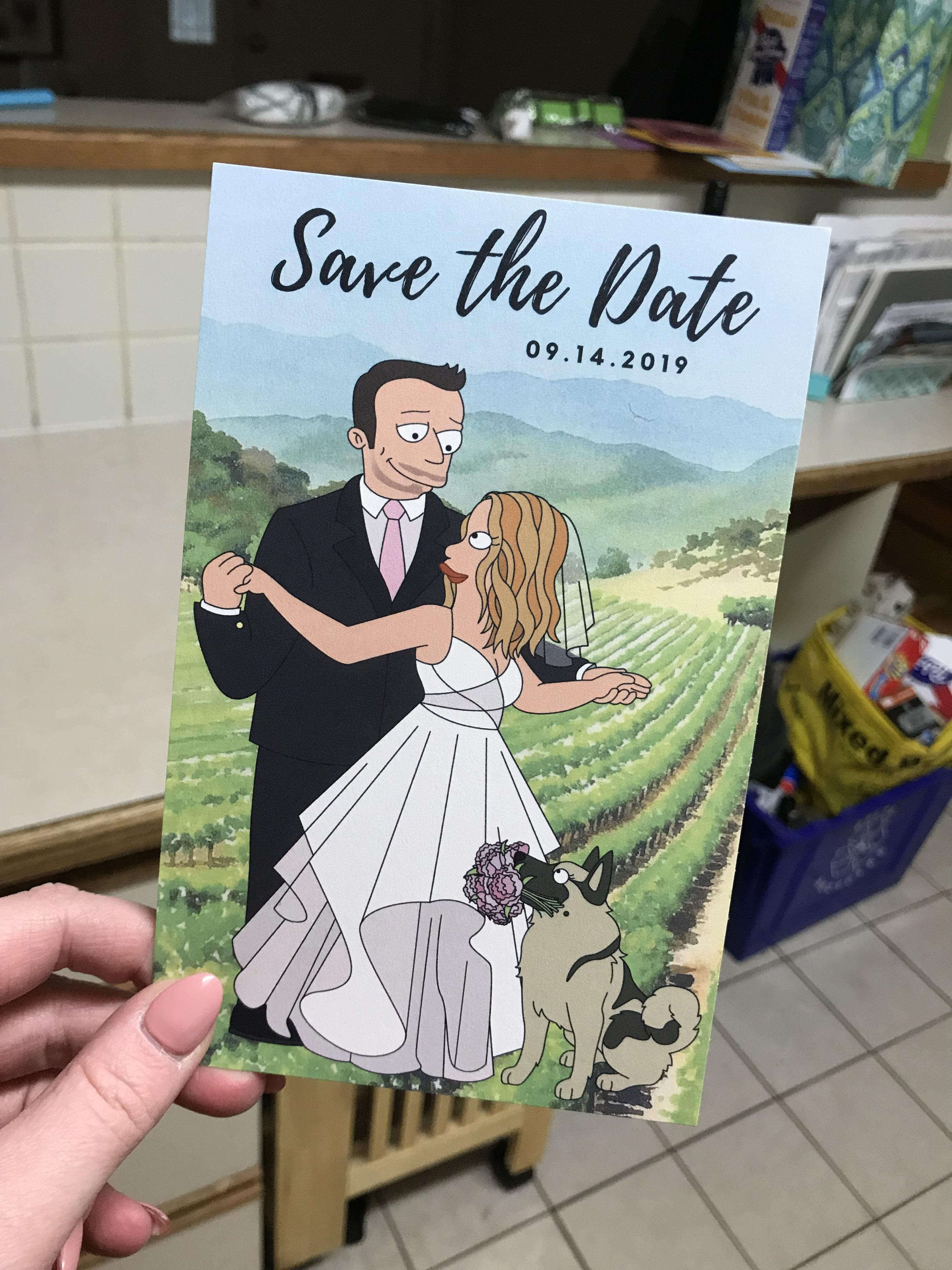 Fulgurant Our Vineyard Cartoondesigned By Graphics Done On Printing Through Vistaprintwith Our Futurama Save Arrived Our Vineyard Wedding Our Futurama Save Arrived photos Vistaprint Save The Date