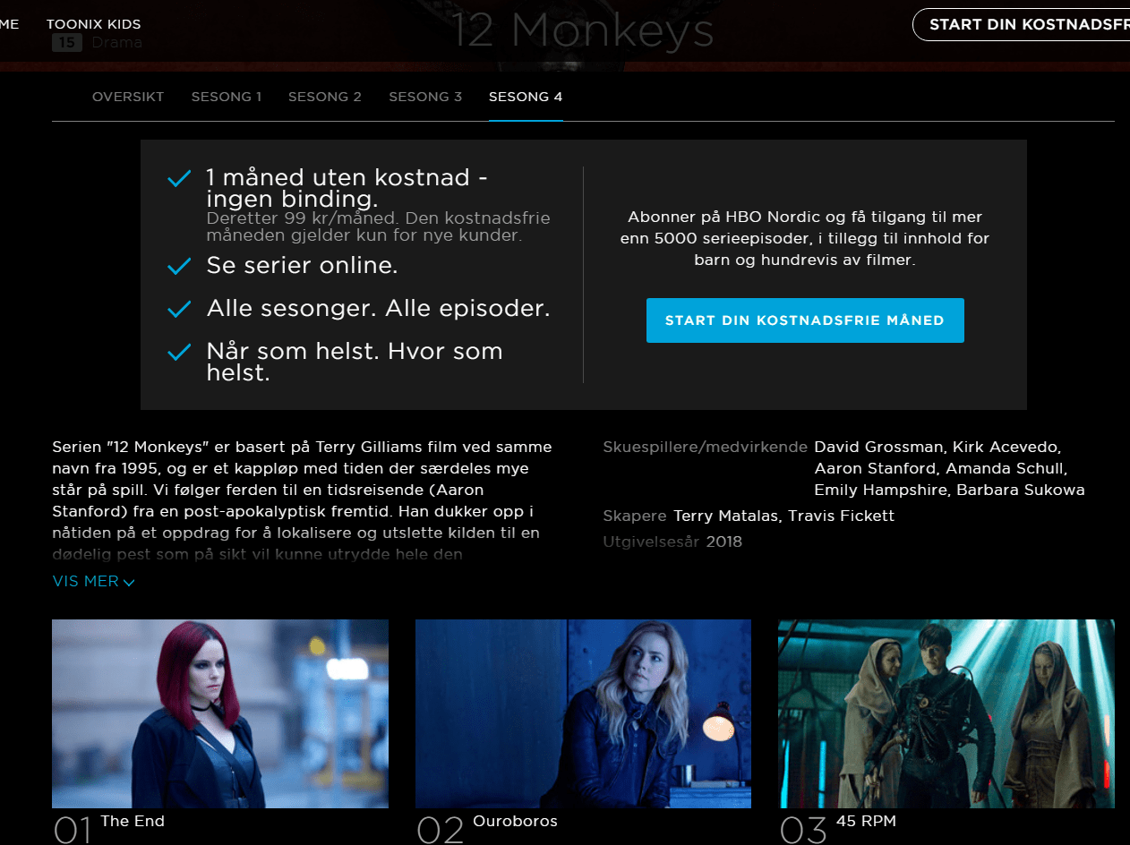 Alle Serien Online Season 4 On Hbo Nordic 12monkeys