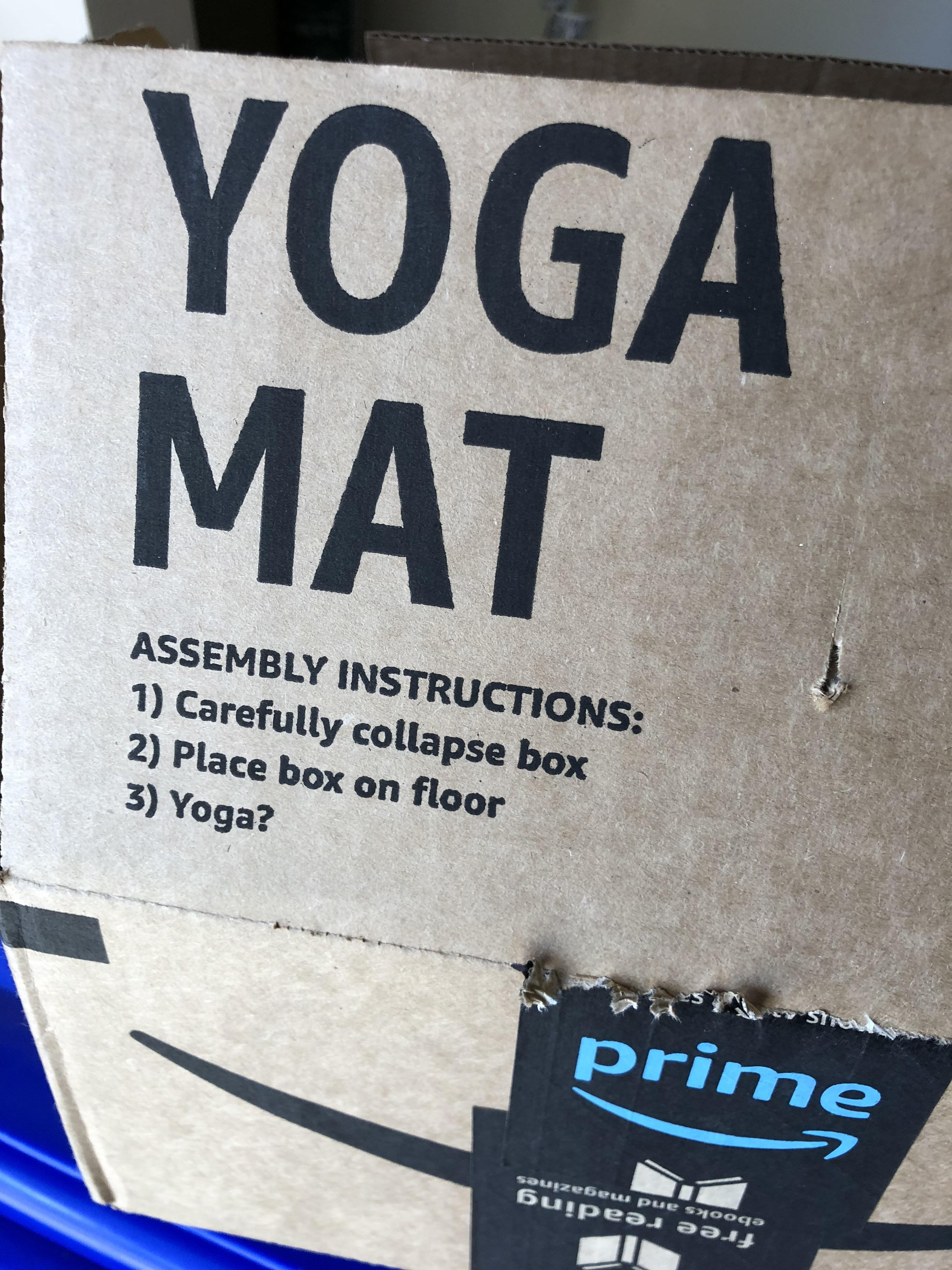 Amazon Yogamatte My Amazon Box Has Instructions On How To Make It Into A Yoga Mat