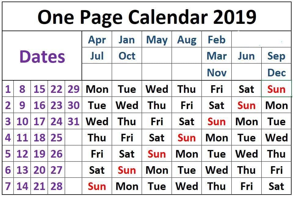 One Page Calendar 2019  interestingasfuck