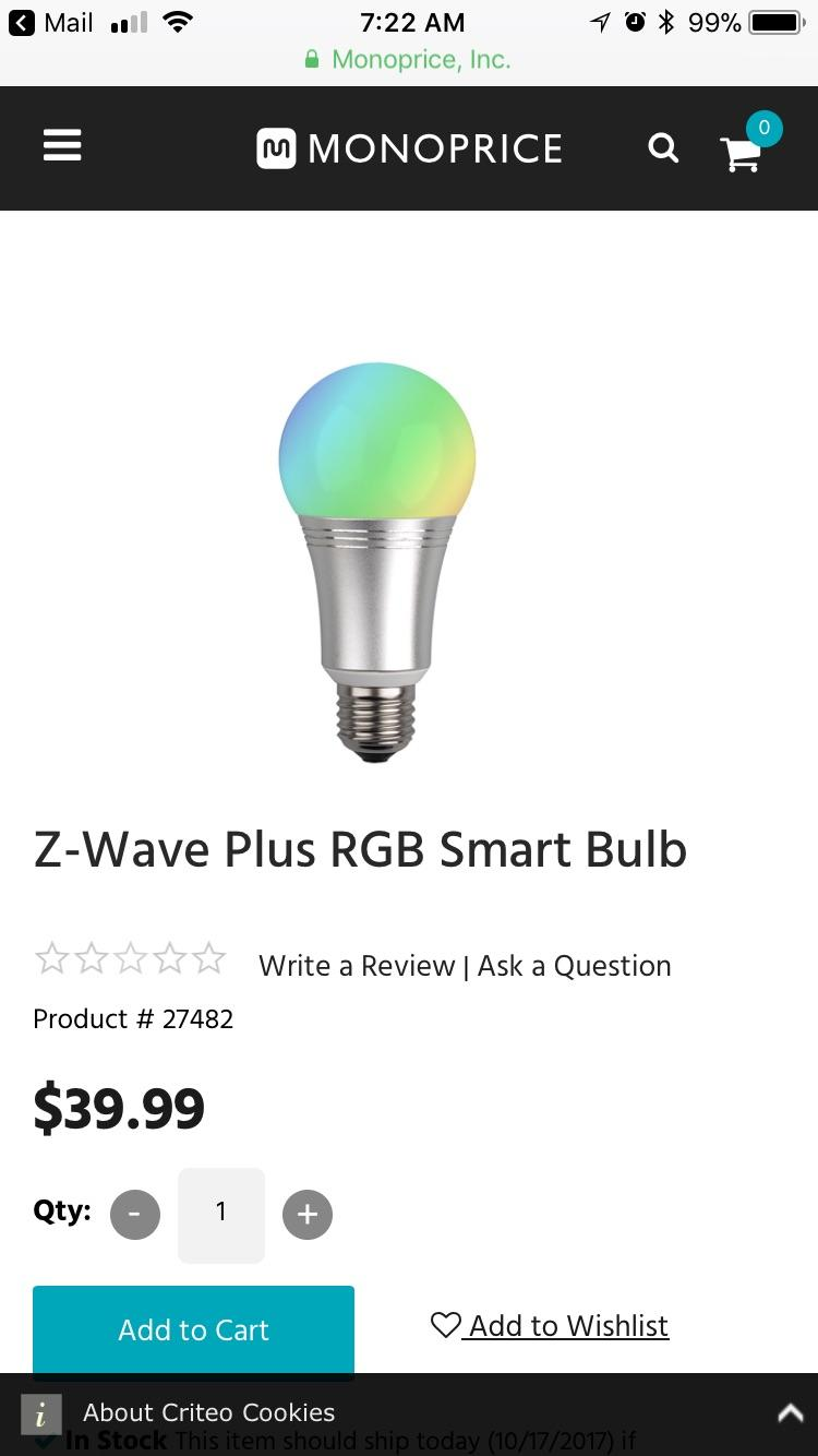 Hue G10 Monoprice Z Wave Plus Rgb Smart Blub Anyone Use Use With Hue