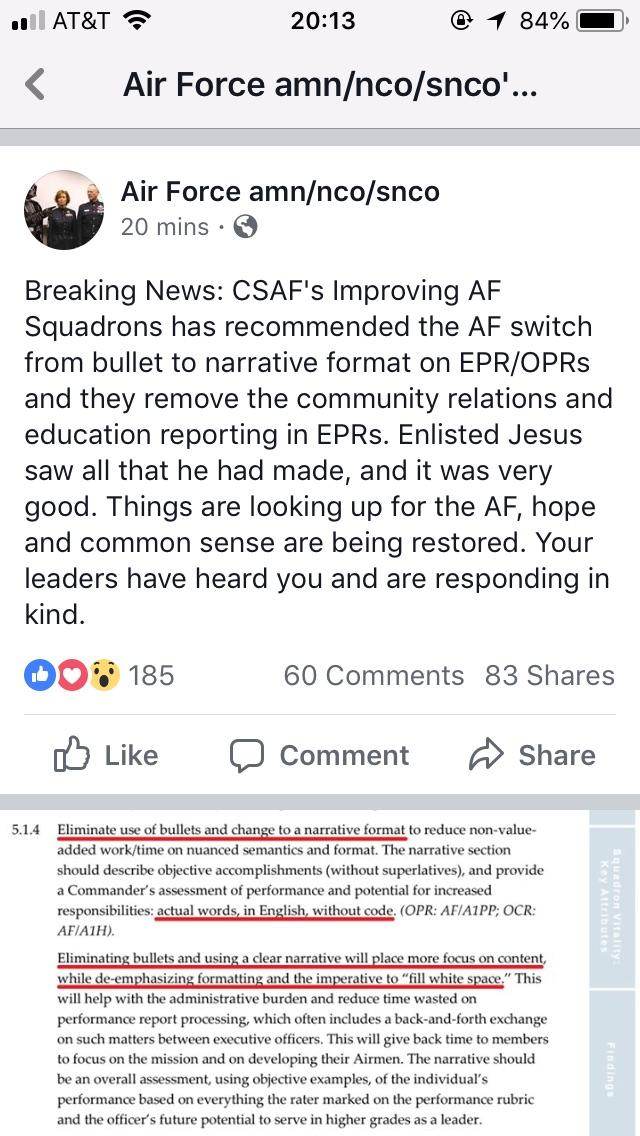 Bullets Changing to Narrative Format?  AirForce
