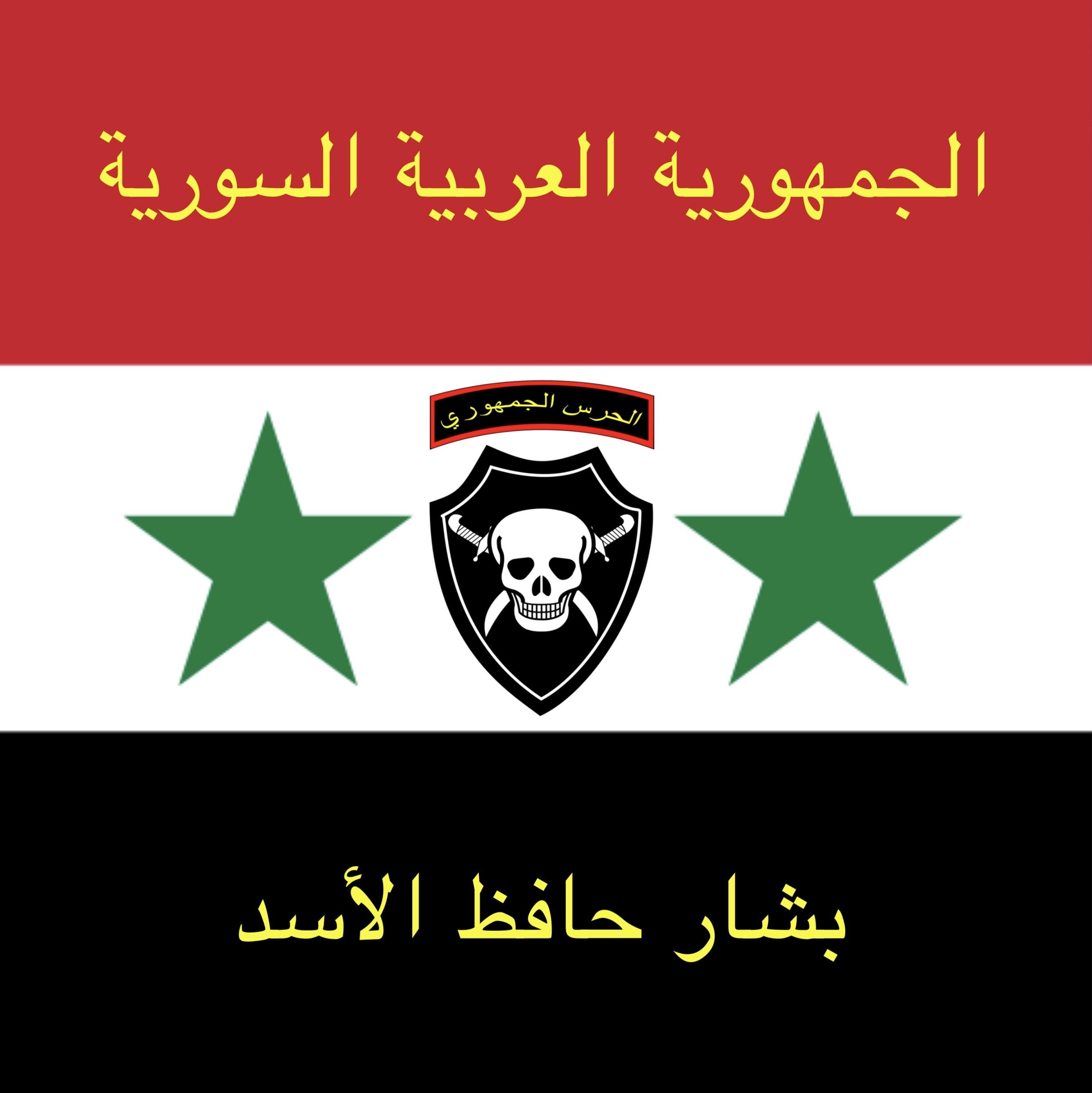 Custom Flag I Made In Picsart The Logo Is Of The Syrian Republican Guard The Top Text Says Syrian Arab Republic And The Bottom Text Says Bashar Hafez Al Assad Syriancirclejerkwar
