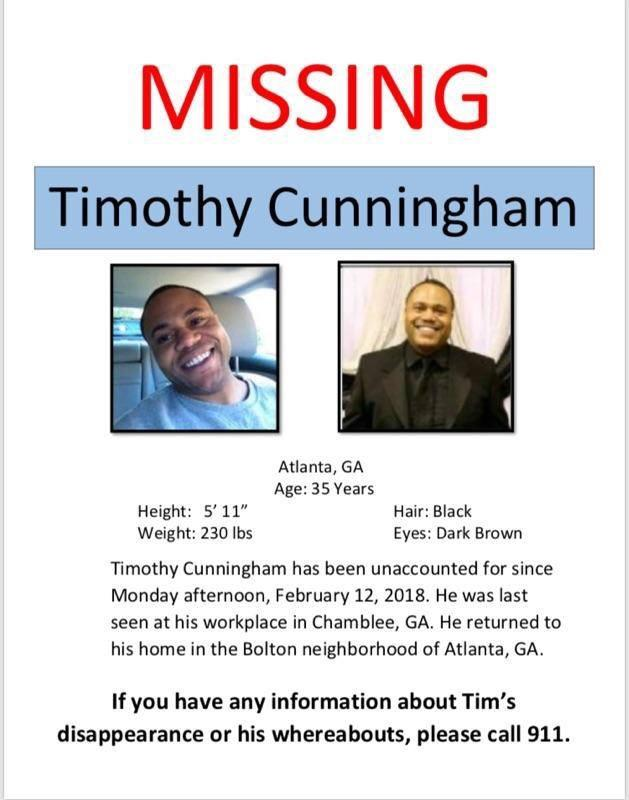 Missing Person Timothy Cunningham Contact the authorities if you