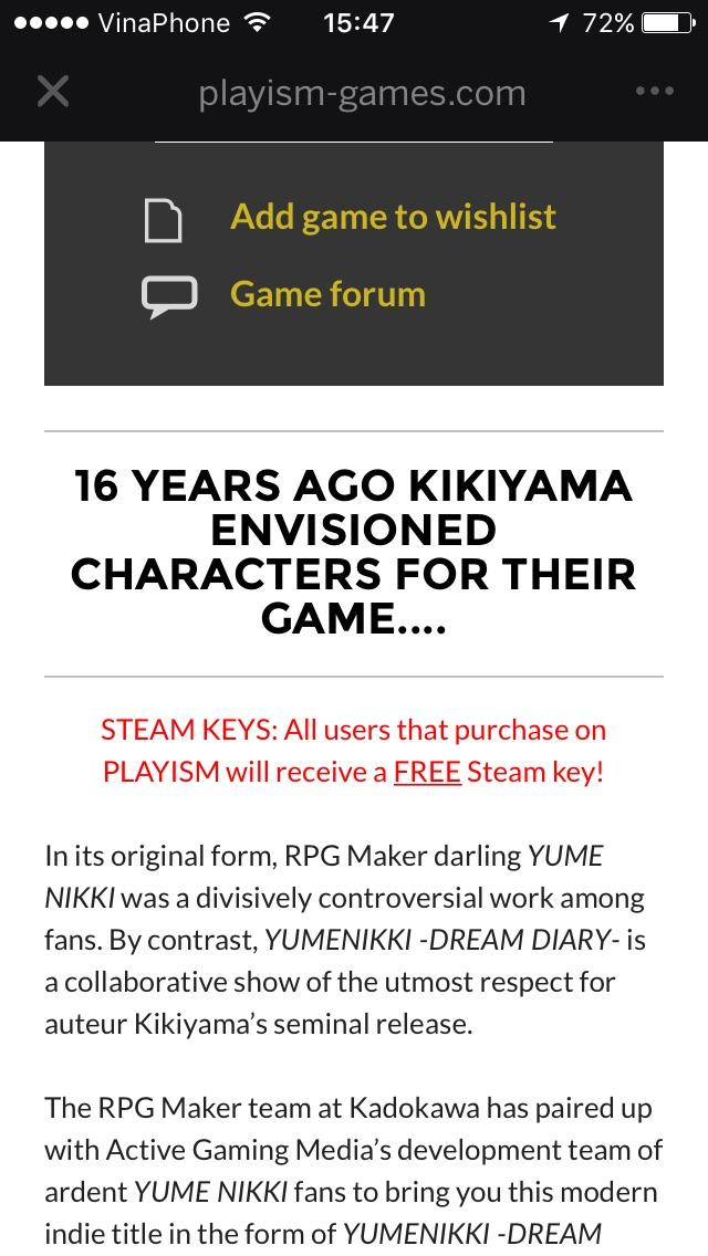 All users who bought Dream Diary on Playism will receive a free - key release form