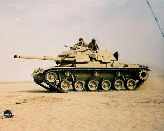 A US Marine Corps M60A1 RISE Passive equipped with ERA in Kuwait