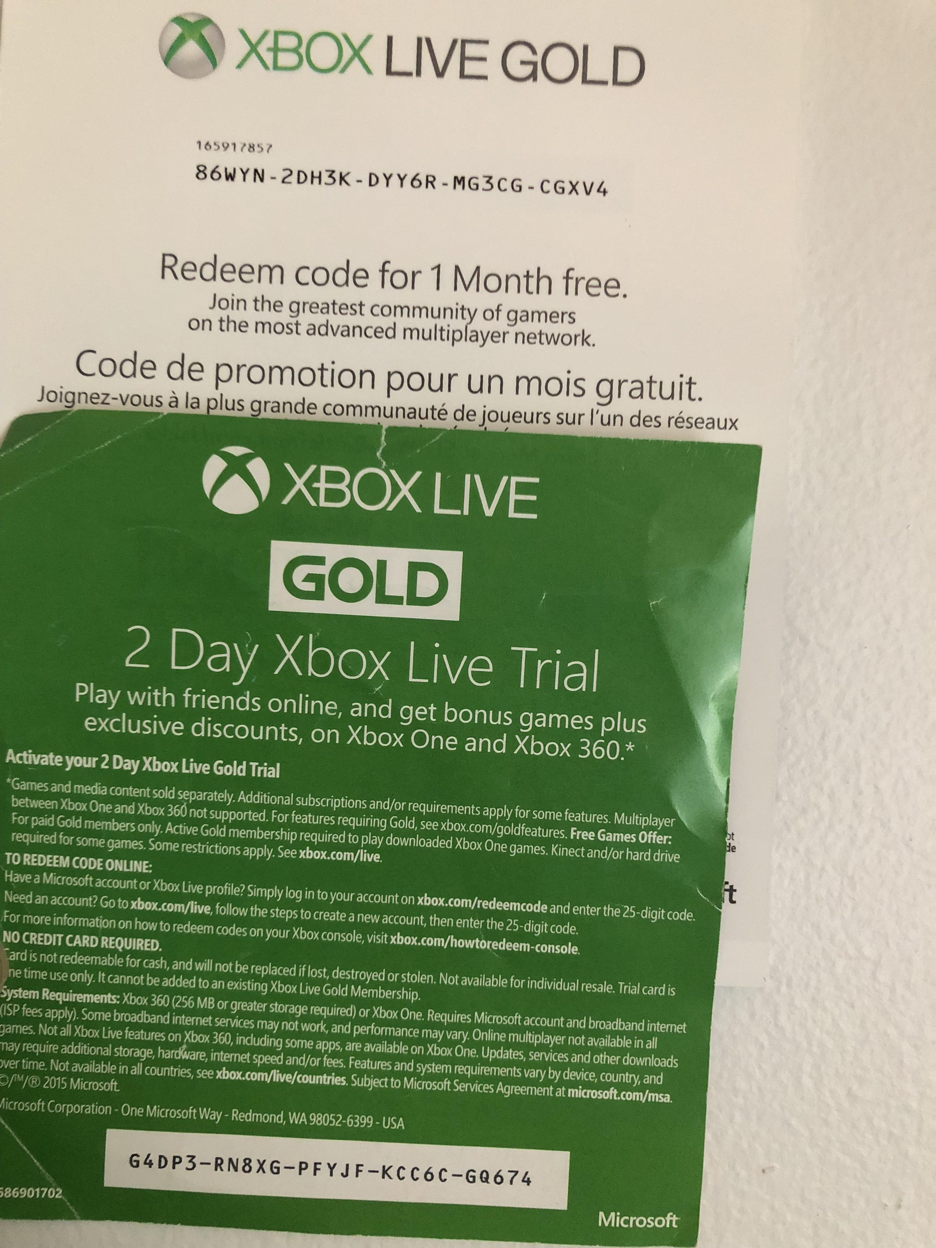 Xbox Live Gold 1 Mes Gratis Xbox Live Gold Codes List Wiring Diagrams