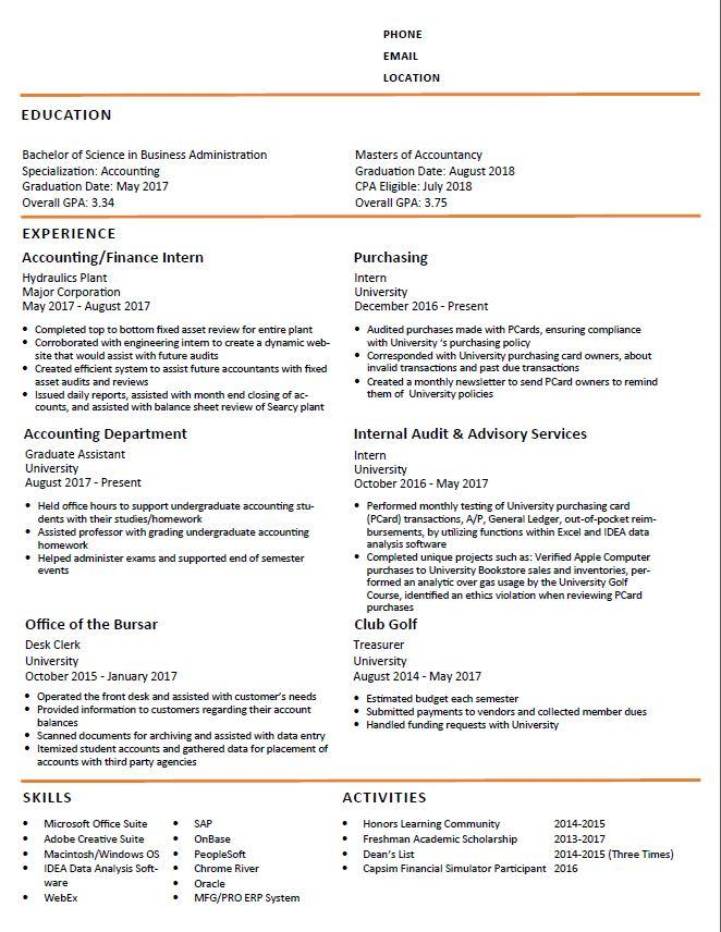 Accounting Grad Student Resume Critique Please help!  Accounting - grad student resume