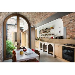 Cheery Brick Barrel Vault Extension To A Victorian House Used As Akitchen Surrounding A Small Courtyard Near River Two Brick Barrel Vault Extension To A Victorian House Used As A