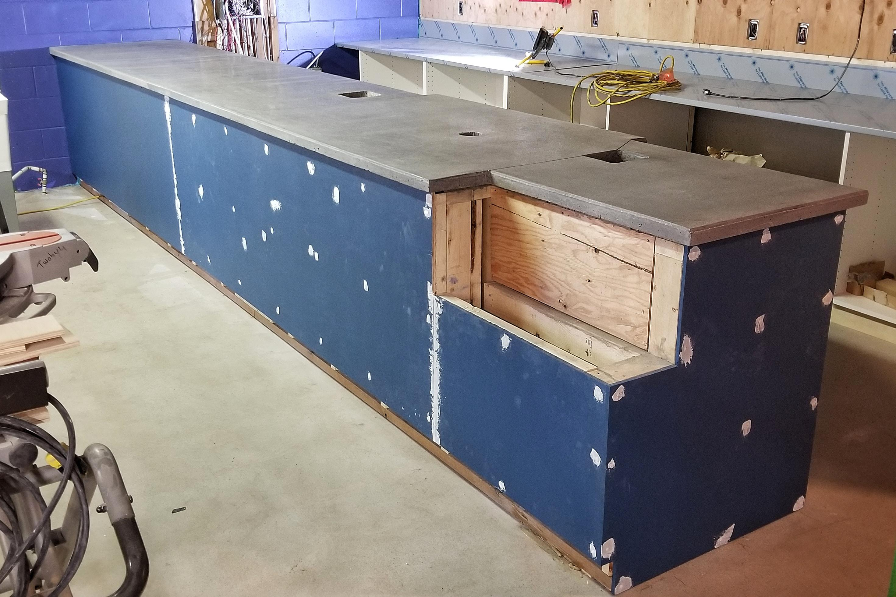 Counter Is Almost Done I Have Three Small Concrete Slabs To Add To The Corner Closest In The Photo How Do I Do It Concrete