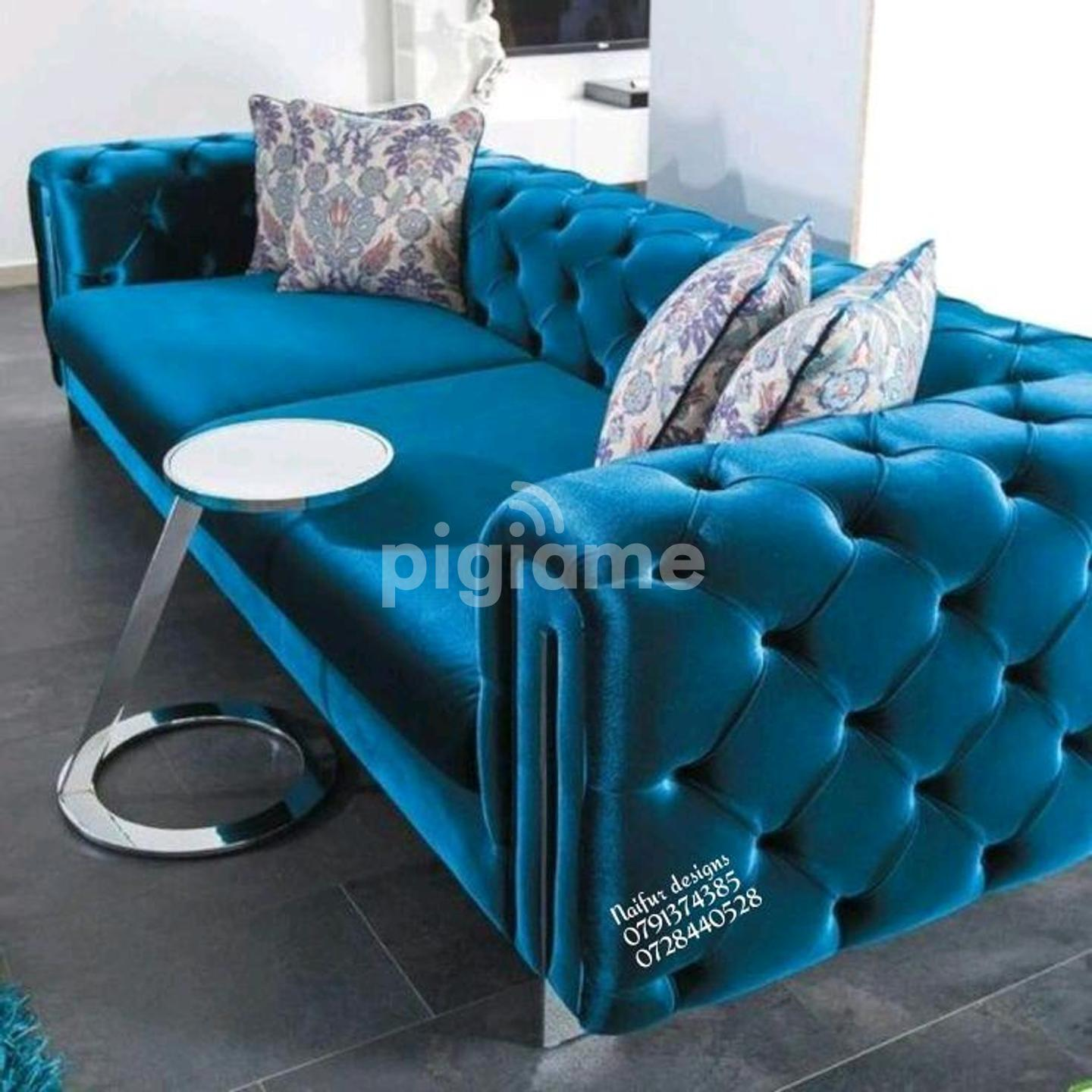 Three Seater Blue Chesterfield Sofa For Sale In Nairobi Kenya Latest Chesterfield Sofas Set Designs In Utawala Pigiame