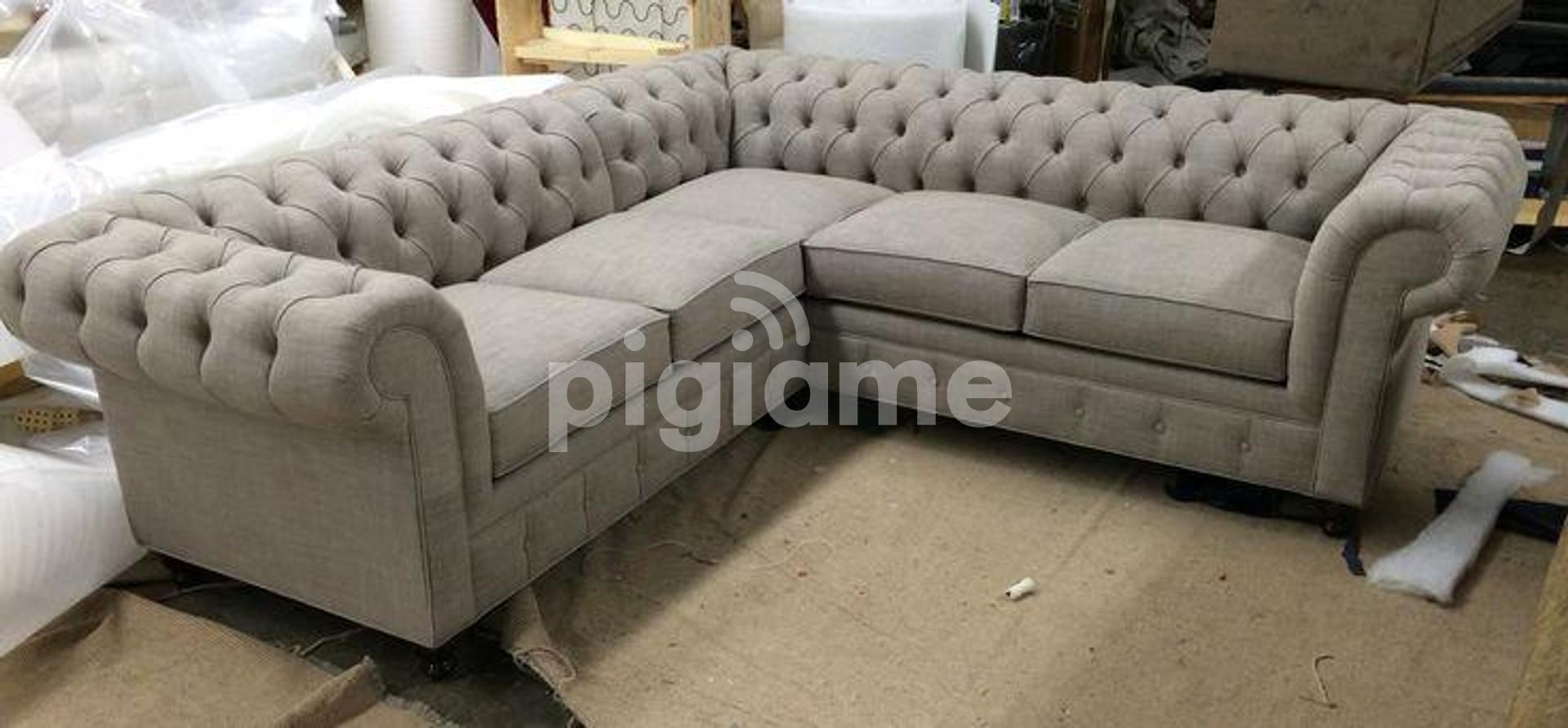 Five Seater Beige Sofa Set L Shaped Chesterfield Sofas For Sale In Nairobi Kenya In Utawala Pigiame