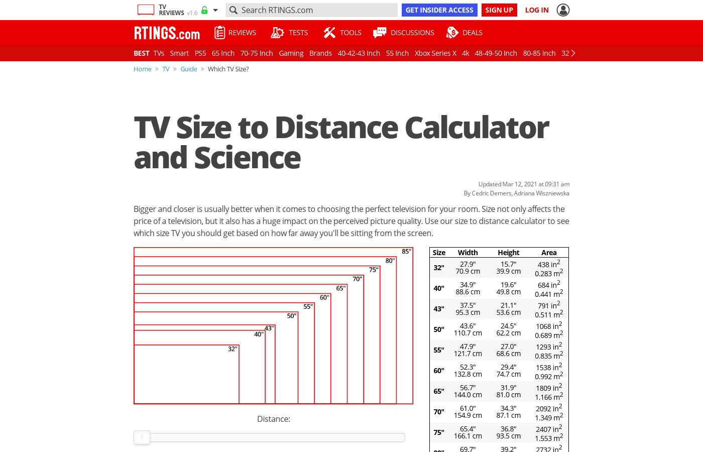 9 To Cm Tv Size To Distance Calculator And Science Rtings