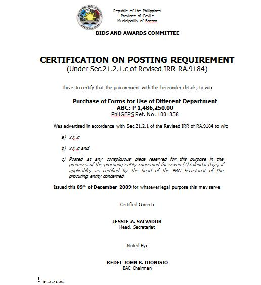 RE Certification issued by the Head of BAC Secretariat