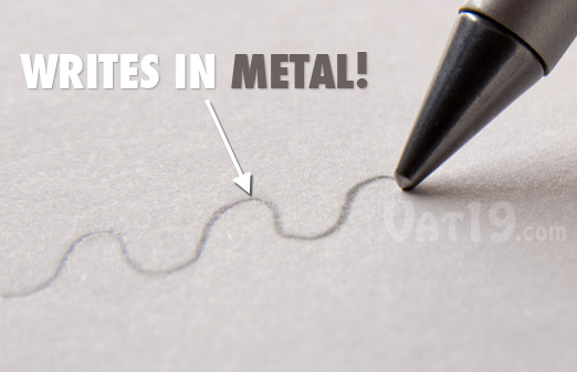 Inkless Metal Pen has a metal alloy tip that writes in metal rather than ink.