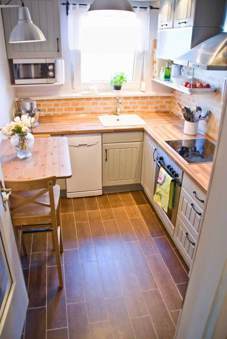 25 small kitchen design ideas small kitchen remodels faux painted brick looks well on a small kitchen