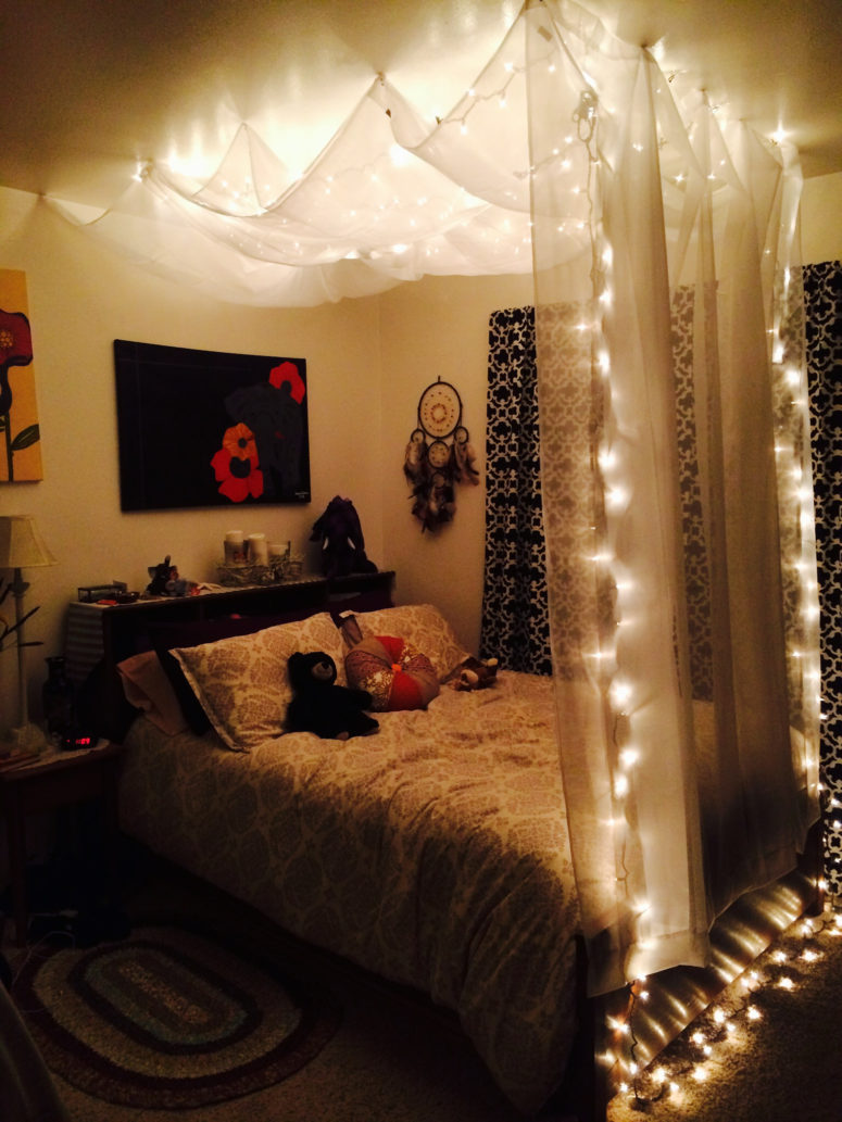 A cheap white curtain removable wall hooks and christmas lights are only things you need