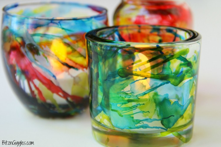 Colorful Diy Alcohol Ink Votives Shelterness