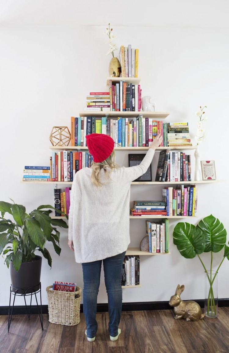 Creative Diy Diamond Shaped Bookshelves Shelterness