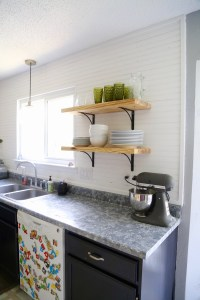 Airy-Looking DIY Kitchen Open Shelving - Shelterness