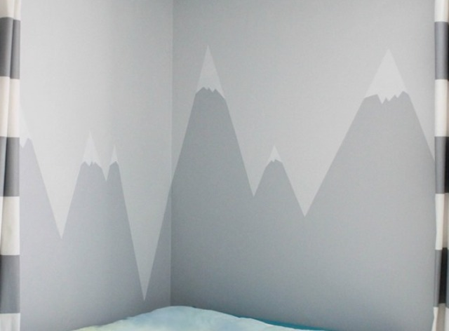 Decoration Nice Diy Mountain Wall Mural For A Kids' Room - Shelterness