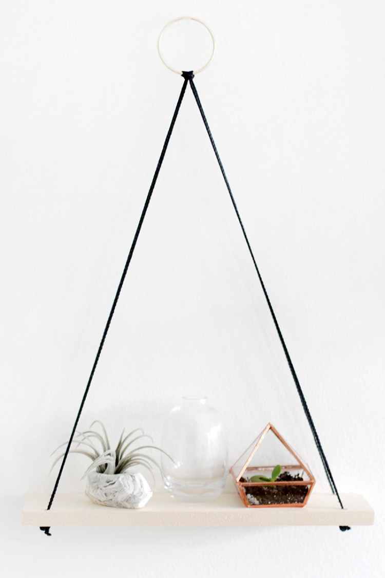 Ikea Ribba Shelf Simple Diy Shelves Hanging From Rings - Shelterness