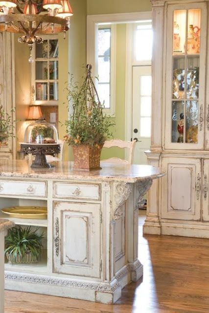 Picture Of Shabby Chic Whitewashed Kitchen Island And Cabinets