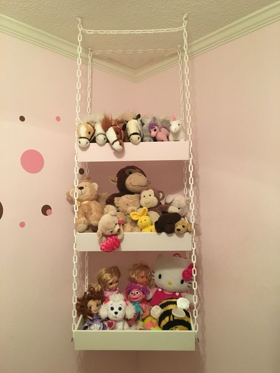 Kitchen Shelves With Hooks 26 Comfy Stuffed Toys Storage Ideas - Shelterness