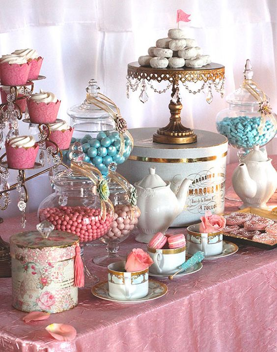 Mesa De Chucherias Para Comunion 30 Vintage Tea Party Decor And Treats Ideas - Shelterness