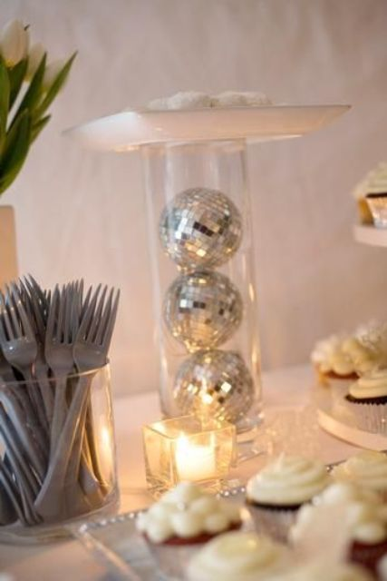 Glass Candle Holders 21 Sparkling Disco Ball Décor Ideas For Winter Parties