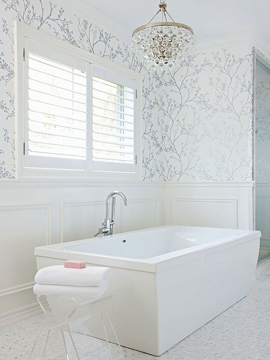 3d Washable Wallpaper 15 Ways To Rock Glam Chandeliers In Bathrooms Shelterness