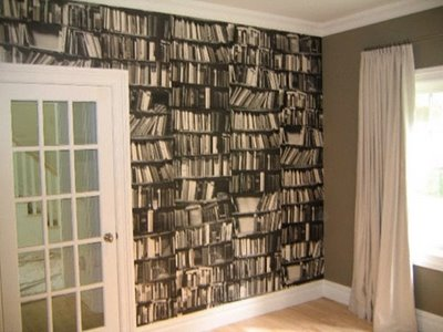 3d Effect Bookcase Wallpaper 23 Interiors With Wallpapers That Imitate Books Shelterness
