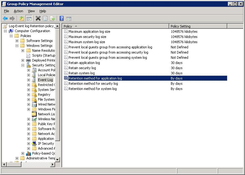 windows - Group Policy settings for Event Logs - Server Fault