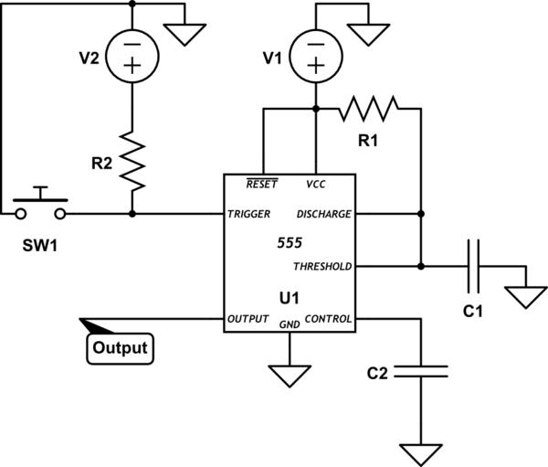 edgetriggered 555 monostable multivibrator