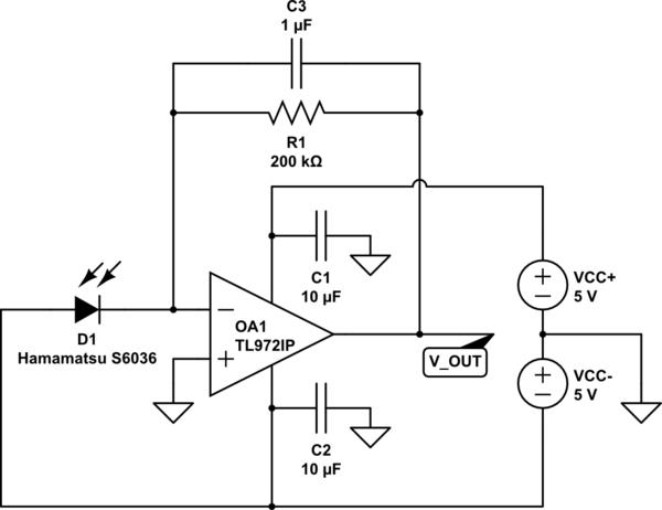 photodiode circuit simulate this circuit