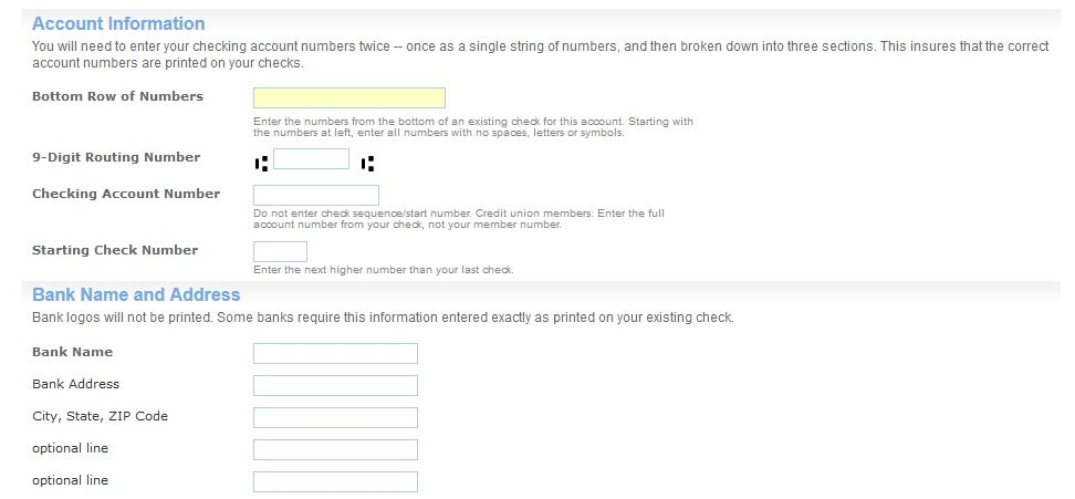 checking account - What to enter on the check ordering form - money order form