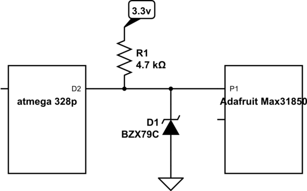level shifting 5v to 33v can i just use a zener diode electrical