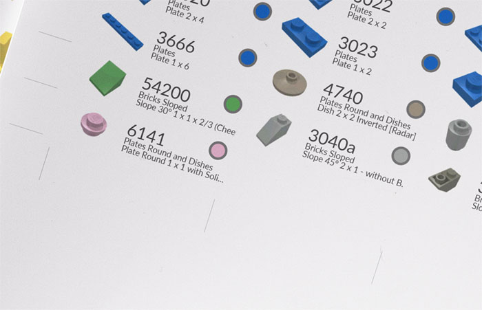 piece information - Brick labels to be printed - Bricks