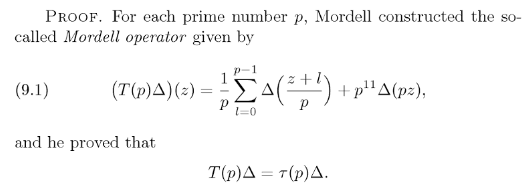 Serre Conjecture Number Theory - The Definition Of Mordell Operator