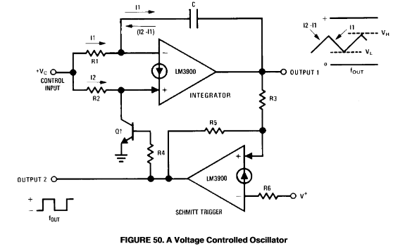 voltage controlled oscillator the schmitt trigger can also be used