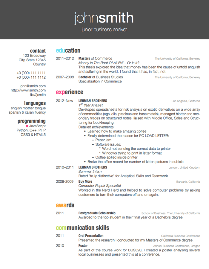 best color cv