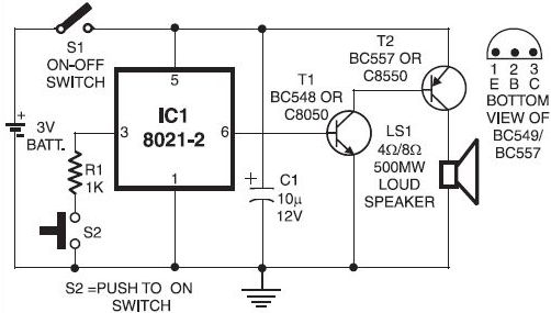 door bell circuit using um 66 ic